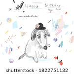 cute card with hand drawn dog.  ... | Shutterstock .eps vector #1822751132