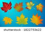 set of autumn maple leaves... | Shutterstock .eps vector #1822753622