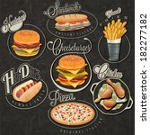 retro vintage style fast food... | Shutterstock .eps vector #182277182