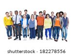 group of happy multi ethnic and ... | Shutterstock . vector #182278556