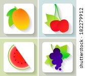 flat design fruit icons. set of ... | Shutterstock .eps vector #182279912