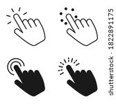 hand clicking icon set. finger...   Shutterstock .eps vector #1822891175