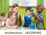 children with nursery teacher... | Shutterstock . vector #182289482