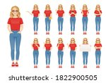 young woman with glasses in...   Shutterstock .eps vector #1822900505