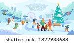 vector winter park scene with... | Shutterstock .eps vector #1822933688