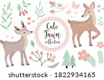 Cute Fawn Character Set Of...