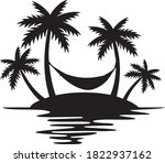 tropical island  palm trees and ... | Shutterstock .eps vector #1822937162