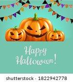 three pumpkins isolated blue... | Shutterstock .eps vector #1822942778