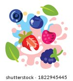 different bright berries on... | Shutterstock .eps vector #1822945445