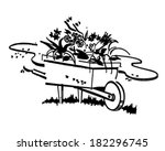 wheelbarrow full of flowers  ... | Shutterstock .eps vector #182296745