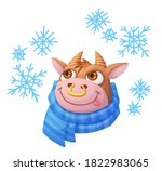cartoon funny ox as symbol of... | Shutterstock .eps vector #1822983065