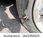 In A Car Accident  A Tire Broke ...
