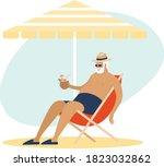 old senior man enjoying a...   Shutterstock .eps vector #1823032862