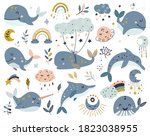 set of celestial whales ... | Shutterstock .eps vector #1823038955