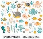 big set of sea animals for kids.... | Shutterstock .eps vector #1823039258