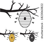 bees and beehive on tree branch.... | Shutterstock .eps vector #1823063822