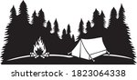landscape   camping in... | Shutterstock .eps vector #1823064338