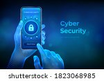 cyber security. data protection ... | Shutterstock .eps vector #1823068985