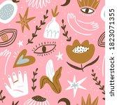 mystical seamless pattern in... | Shutterstock . vector #1823071355
