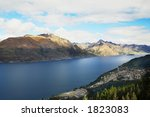 Beautiful mountain and lake at queenstown, nz - stock photo