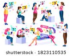 social media  young girls...   Shutterstock .eps vector #1823110535