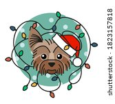 Yorkshire Terrier Dog In Santa...
