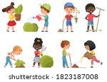 kids gardening vector... | Shutterstock .eps vector #1823187008