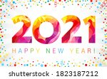2021 a happy new year congrats... | Shutterstock .eps vector #1823187212