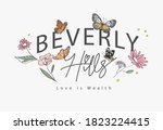 beverly hills slogan with hand... | Shutterstock .eps vector #1823224415