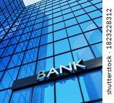 bank sign on a modern glass... | Shutterstock . vector #1823228312