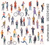 crowd of multicultural diverse... | Shutterstock .eps vector #1823241482