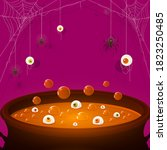 halloween purple background.... | Shutterstock .eps vector #1823250485