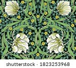 vintage white flowers and green ... | Shutterstock .eps vector #1823253968