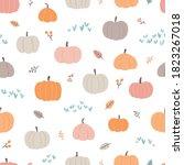 pretty autumn pumpkin seamless... | Shutterstock .eps vector #1823267018