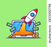 laptop with money and rocket... | Shutterstock .eps vector #1823300798