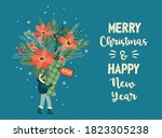 christmas and happy new year... | Shutterstock .eps vector #1823305238