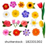 Stock vector big collection of colorful flowers vector illustration 182331302