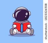 cute astronaut reading book... | Shutterstock .eps vector #1823326508