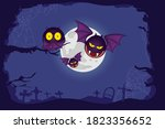 happy halloween with creepy... | Shutterstock .eps vector #1823356652