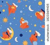 set of people flying in space... | Shutterstock .eps vector #1823369405