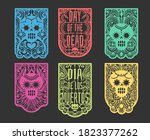 day of the dead paper flags.... | Shutterstock .eps vector #1823377262