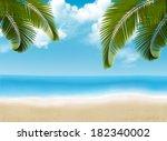 palm leaves on beach. raster... | Shutterstock . vector #182340002