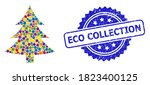colored mosaic fir tree  and... | Shutterstock .eps vector #1823400125