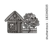 house tree pattern vector... | Shutterstock .eps vector #182340035