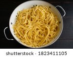 Cooked Linguine Drained In A...