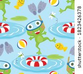 Seamless Pattern Of Frog...