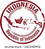 Indonesia Asian  Country Rubber Stamp