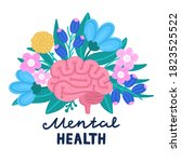 vector healthy brain on flowers.... | Shutterstock .eps vector #1823525522