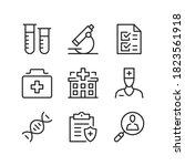 hospital line icons. medical... | Shutterstock .eps vector #1823561918