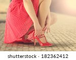 red skirt and summer sun  | Shutterstock . vector #182362412